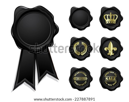 Black wax seal collection isolated - stock vector