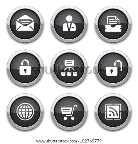black web buttons - stock vector