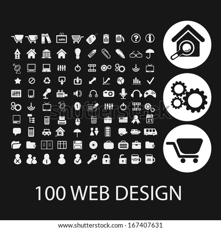 black web design icons, signs set, vector - stock vector