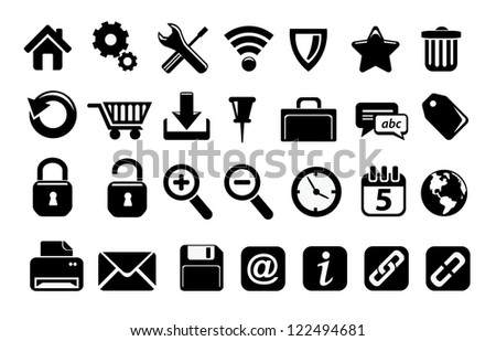 Black web icons - stock vector