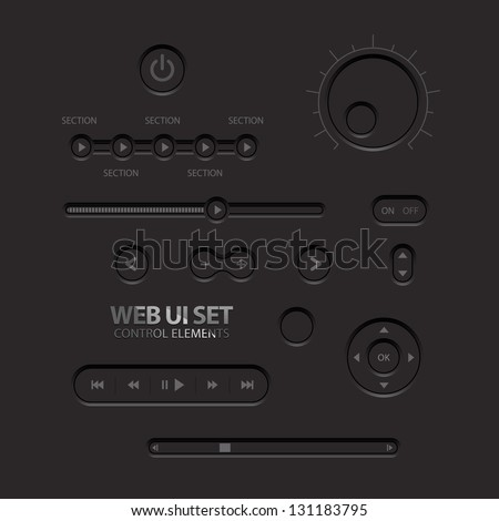 Black Web UI Elements. Buttons, Switches, bars, power buttons, sliders. Vector illustration - stock vector