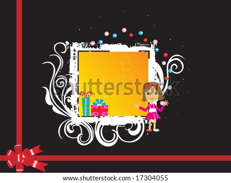 black wedding card background with cute girl