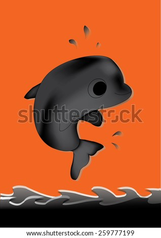 Black Whale white isolate  - stock vector