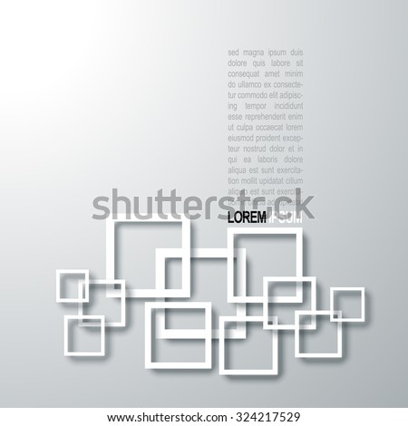 Black White Abstract Square Graphic Art Design 3D Minimalistic Vector Background Illustration EPS10