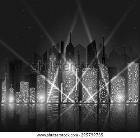 Black-white and bright night cityscape. Vector illustration. - stock vector