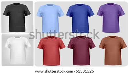 Black, white and colored men polo shirts. Photo-realistic vector illustration - stock vector