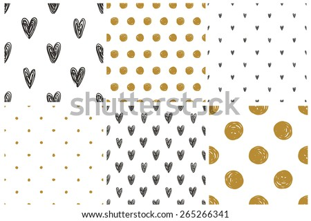 Black, white and gold geometric seamless patterns set - stock vector