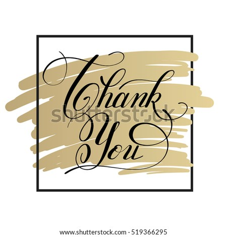 black white and gold modern calligraphy thank you handwritten lettering inscription, vector illustration