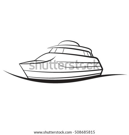 Black White Boat Vector Drawing