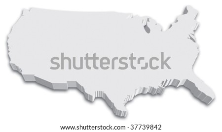 Black & White 3D USA State map - stock vector