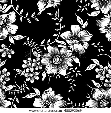 Wedding set. Menu, save the date, guest card. Black and white flowers ...