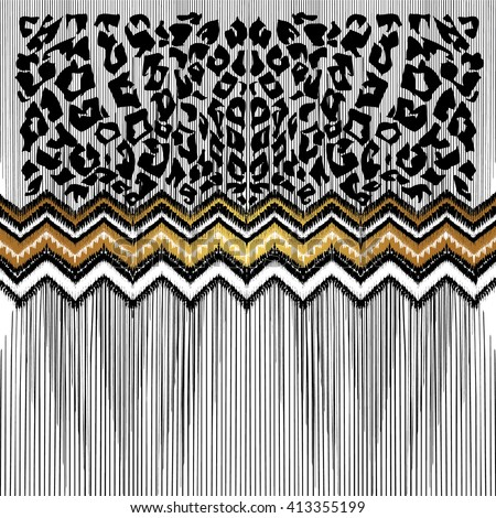 Black, white, gold illustration. Leopard spots, tribal decorative pattern. Hand drawn texture. Abstract mixed animal, geometric print. Art ethnic backdrop. Head scarf, neckerchief, textile, background - stock vector