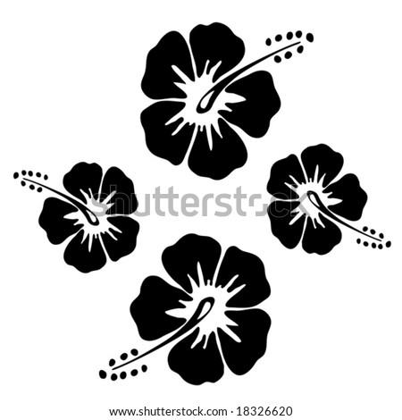 Black & White Hibiscus - stock vector