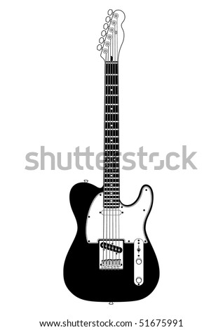 Black & white illustration of solid-body electric guitar