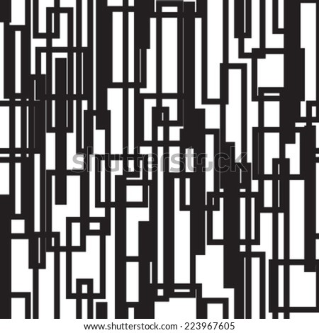 black & white lines & rectangles seamless pattern