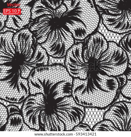 Black White Pansy Lace Design Background Ornamental Flower Band Abstract Ribbon Seamless Pattern