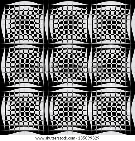 black white pattern with abstract lines - stock vector