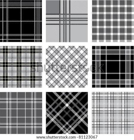 Black & white plaid patterns set - stock vector