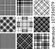 Black & white plaid set - stock vector