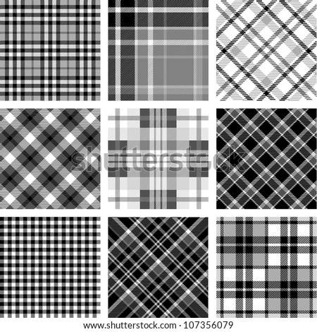 Black & white plaid set - stock vector
