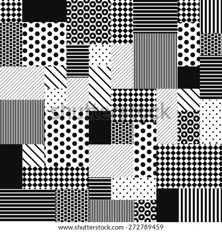 black white seamless patchwork pattern vector graphic background dotted striped unusual textured ornament