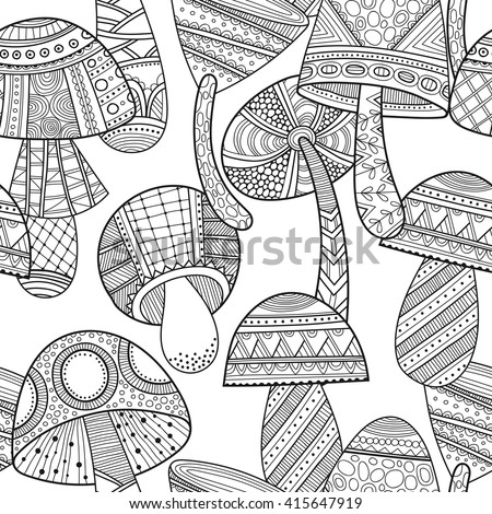 Black, white seamless pattern with decorative mushrooms for coloring book  - stock vector