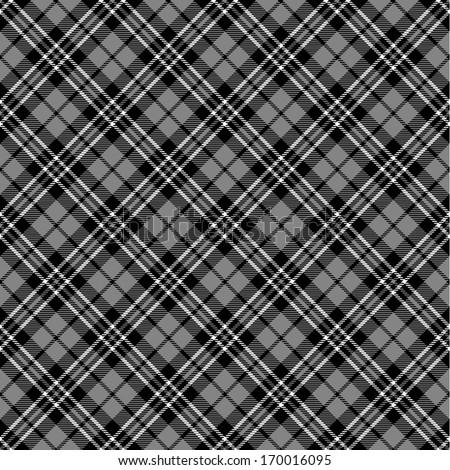 Black & white seamless tartan pattern - stock vector