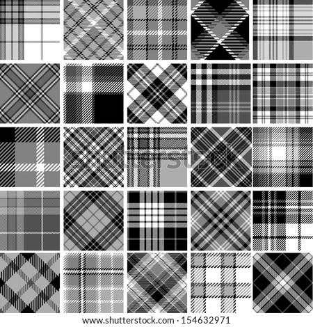Black & white seamless tartan patterns - stock vector