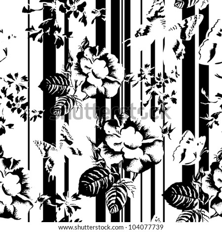 black-white seamless texture with flowers on a striped background.  Vector background for textile design in vintage style - stock vector