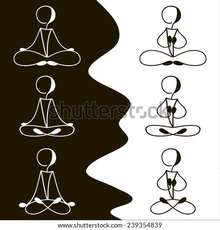 black - white set of different icons for meditation classes - stock vector