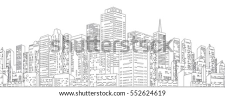 Black White Sketch of Cityscape Vector