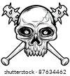 black white Skull head vector illustration - stock