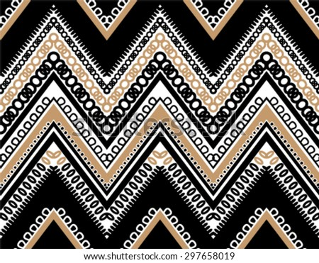Black White Tan Textured ZigZag Chevron Seamless Pattern - stock vector