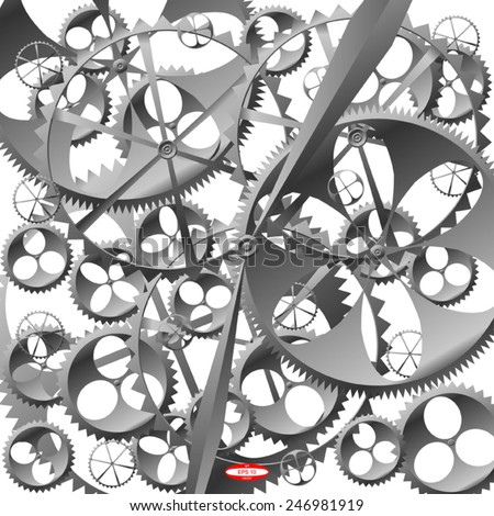 black white technology background with clock work with cogwheels vector