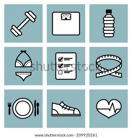 Black & White with Blue Vector Weight Loss Icons - stock vector
