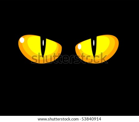 Black wild cat with yellow eyes - vector illustration - stock vector