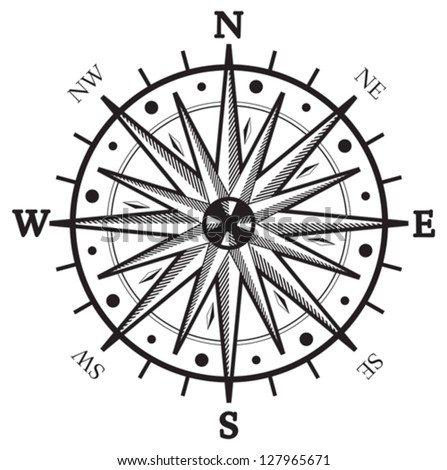 Black wind rose compass isolated on white - stock vector