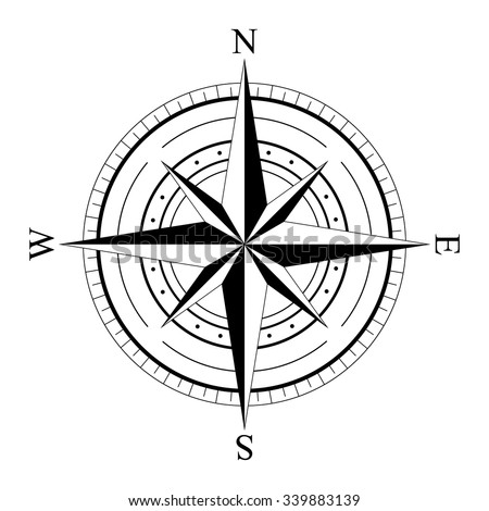 Black wind rose compass isolated on white. Compass Icon Graphic. Nautical design elements. Compass Rose. Wind rose. Vector Illustration. - stock vector