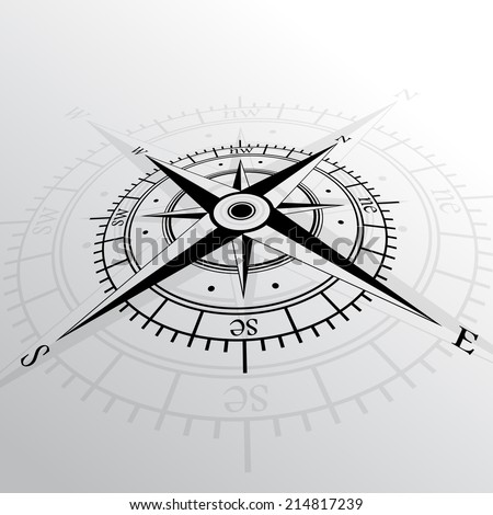 Black wind rose isolated on black with shadow. eps10 - stock vector