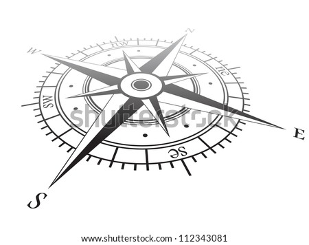 Black wind rose isolated on white - stock vector