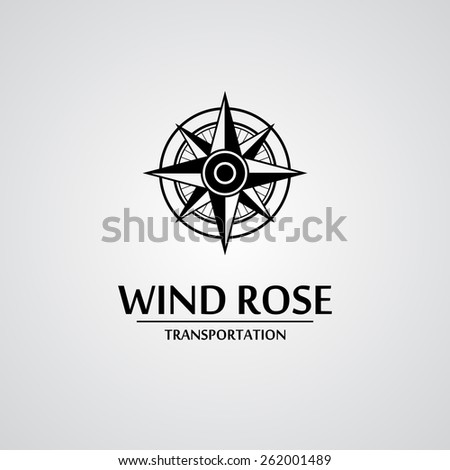 Black wind rose isolated on white with text. eps10 - stock vector