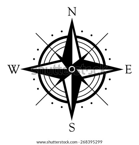 Black wind rose symbol