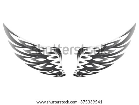 black wings on a white background - stock vector