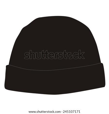 Black winter hat vector isolated, snowboarding hat - stock vector