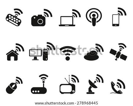 black wireless technology icons set - stock vector