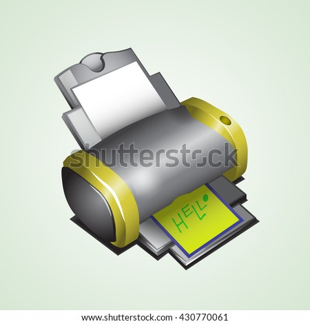 Black with yellow sides, the printer is pictured in isometry to display a button. - stock vector