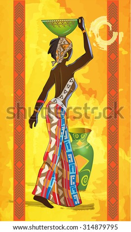 black woman carries a vessel on her head