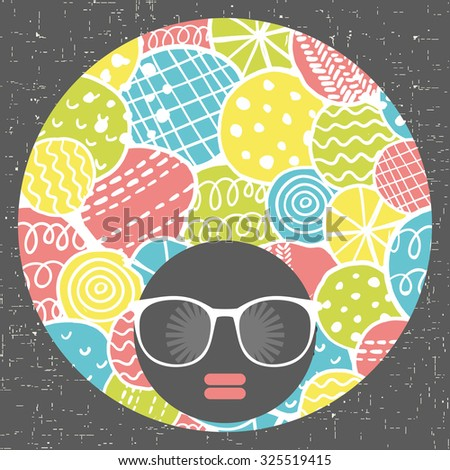 Black woman's head with mod afro hair style. Vector illustration. - stock vector