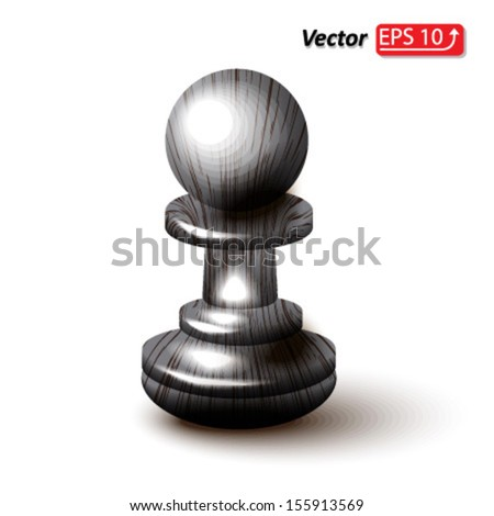 black wooden pawn , chess piece , chess icon, chess figure , isolated on white background vector - stock vector