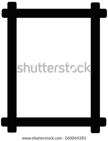 Black wooden picture frame isolated on white background  - stock vector